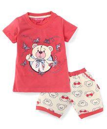 Valentine Half Sleeves Top And Shorts Bear Print - Peach