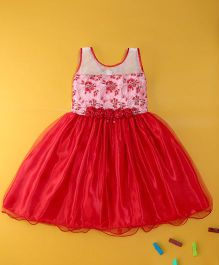 Winakki Kids Sleeveless Satin Party Dress - Baby Pink & Red