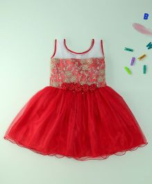 Winakki Kids Party Dress With Floral Applique - Red