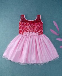 Winakki Kids Floral Applique Party Dress - Pink