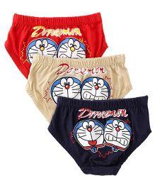 Doraemon Briefs Pack Of 3 - Red Navy Cream