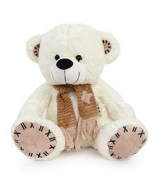 Dimpy Stuff Teddy Bear Soft Toy With Scarf White - 50 cm