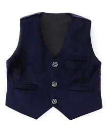 Robo Fry Sleeveless Jacket With Printed Back - Navy Blue