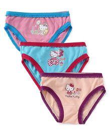 Hello Kitty Printed Panties Set of 3  - Peach Pink Sky Blue