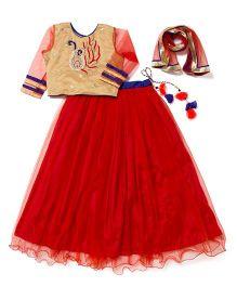Little Pocket Store Angel's Lehenga Choli Set - Peach & Red