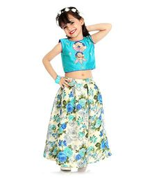 Little Pocket Store Lehenga With Crop Top - Blue