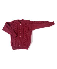 GoCuddle By Jasleen Cardigan For Girls - Maroon