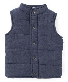 Fox Baby Sleeveless Denim Jeans Jacket - Blue