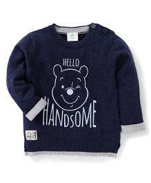 Fox Baby Full Sleeves Sweatshirt Hello Handsome Design - Blue