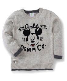 Fox Baby Full Sleeves Sweatshirt Mickey Mouse Design - Grey