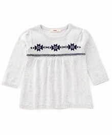 Fox Baby Long Sleeves Designer Winter Wear Top - Off White