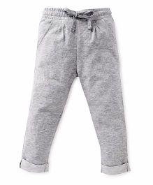 Fox Baby Solid Color Turn-Up Hem Track Pants - Grey