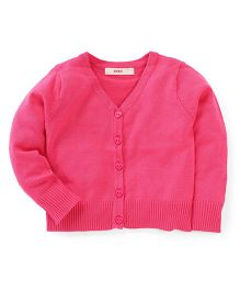 Fox Baby Full Sleeves Front Open Sweaters - Fuchsia
