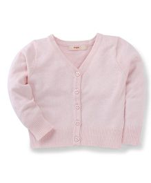 Fox Baby Full Sleeves Front Open Sweaters - Light Pink