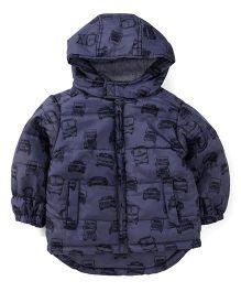 Fox Baby Full Sleeves Hooded Vehicle Printed Jacket - Blue