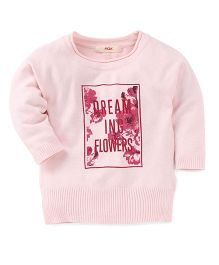 Fox Baby Full Sleeves T-Shirt Dreaming Forever Print - Pink