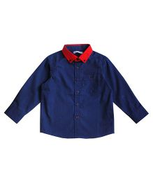 Campana Full Sleeves Plain Shirt - Navy Blue