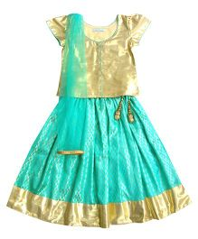 Campana Cap Sleeves Choli Lehenga And Dupatta Set - Sea Green & Gold
