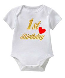 Chota Packet Short Sleeves Onesie 1st Birthday Print - White