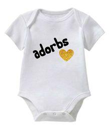 Chota Packet Short Sleeves Onesie Adorbs Print - White