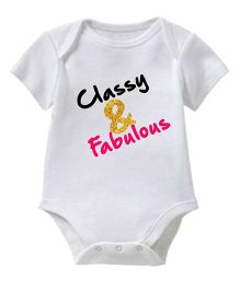 Chota Packet Short Sleeves Onesie Classy & Fabulous Print - White And Pink