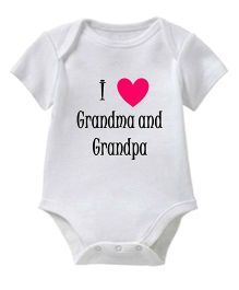 Chota Packet Half Sleeves Onesie Grandma & Grandpa Print - White