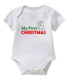 Chota Packet Half Sleeves Onesie My First Christmas Print - White