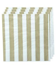 Partymanao Striped Napkin Pack Of 20 - Gold