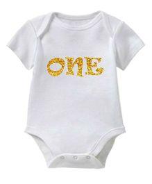 Chota Packet Short Sleeves Onesie One Print - White