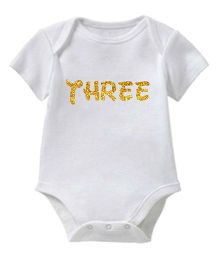 Chota Packet Short Sleeves Onesie Three Print - White