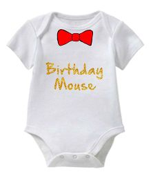 Chota Packet Short Sleeves Onesie Birthday Mouse Print - White