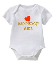 Chota Packet Short Sleeves Onesie Birthday And Heart Print - White