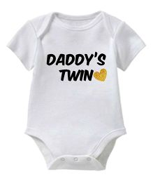 Chota Packet Short Sleeves Onesie Daddy's Twin Print - White