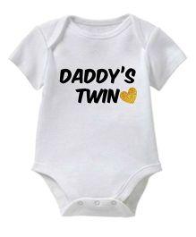 Chota Packet Short Sleeves Onesie Daddy's Twin Print - White