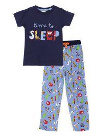 FS Mini Klub Half Sleeves T-Shirt And Pajama Set - Blue