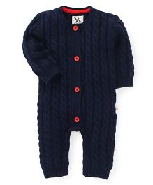 Yellow Apple Full Sleeves Winter Wear Onesie - Navy Blue