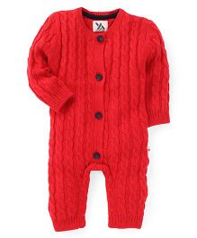 Yellow Apple Full Sleeves Winter Wear Romper - Red