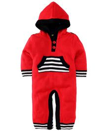 Yellow Apple Full Sleeves Hooded Winter Romper - Red