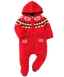 Yellow Apple Hooded Footed Winter Wear Romper - Red