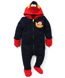 Yellow Apple Footed Hoodie Romper - Navy & Red
