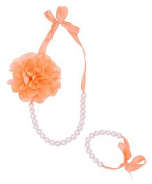 Miss Diva Flower Necklace & Bracelet Set With Ribbon - Peach