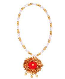 Miss Diva Ethnic Gota Flower Necklace - Red