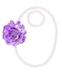 Miss Diva Elegant Flower With Beads Necklace & Bracelet Set - Purple