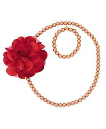 Miss Diva Elegant Flower With Beads Necklace & Bracelet Set - Red