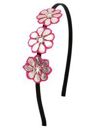 Miss Diva 3 Flower Ethnic Hairband - Pink