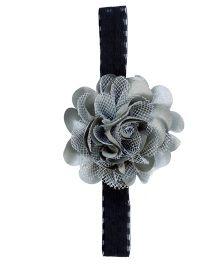 Miss Diva Elegant Flower On Soft Headband - Silver