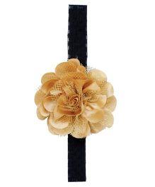 Miss Diva Elegant Flower On Soft Headband - Golden