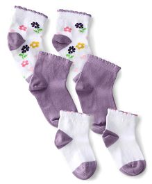 Mustang Ankle Length Socks Floral Design Set of 3 Pairs - Purple And White
