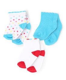 Mustang Ankle Length Socks Set of 3 Pairs - Turquoise And White