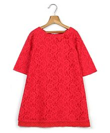 Beebay Full Sleeves Party Wear Frock Bow Applique - Red